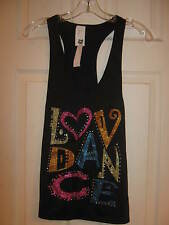 """NEW Long black over tank, """"LOVE DANCE"""" Child size Medium - Curtain Call w/ tags"""