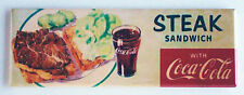 Coke & Steak Sandwich FRIDGE MAGNET (1.5 x 4.5 inches) soda sign coca cola