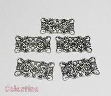 10 Antique Silver Filigree Wraps Connectors Rectangle - Flower Links 30mm x 15mm