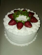 """8x4""""  STRAWBERRIES & CREAM White Frosted Cake $40!"""