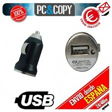 Cargador mini mechero coche USB 1A para movil tablet colores car 12-24v 1000mA N