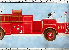 DALMATIANS  RIDING AND CHASING  FIRE ENGINE WALLPAPER BORDER BY YORK   TY7666B