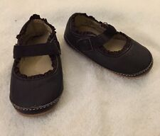 Baby Girls Soft Sole Crib Shoe 0-6 Months Brown Lands End Ruffle NEW