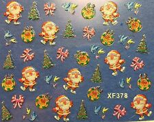 Nail Art 3D Decal Stickers Christmas Tree Santa Birds Bows Wreath XF378