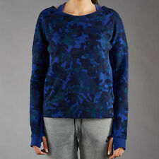 Nike Tech Fleece AOP Crew Camo Sweat Top Womens Size S Navy Blue 683796 455