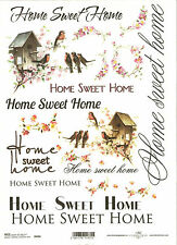 Rice Paper for Decoupage Scrapbooking, Home Sweet Home Birds Flowes ITD R494