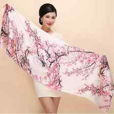 "100% Silk Crepe Satin Women Scarf 67x20"" long Shawl Wrap black pink red S071-005"