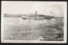 REAL PHOTO Postcard CANADA STEAMSHIP LINE  On Longue Sault Rapids view 1940's