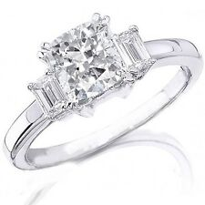 1.72 Ct 3 Stone Cushion cut Diamond Engagement Ring with Emerald Sides Natural