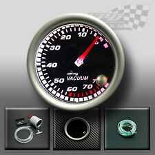 "VACUUM GAUGE 52mm 2"" SMOKED FACE 7 COLOUR DASH DISPLAY GAUGE MOUNT POD"
