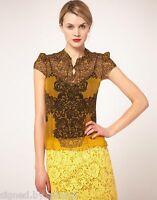 Karen Millen Pintuck Lace Print Panel Silk Cap Sleeve Shirt Blouse Top 16 44
