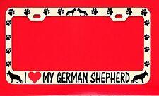I Love My German Shepherd License Plate Frame Tag Dog Paw Weatherproof Vinyl
