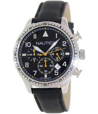Nautica Men BFD105 Chrono Black Resin/Leather Band Date Watch 45mm N16577G $165