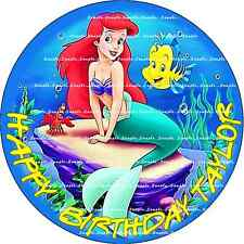 LITTLE MERMAID ARIEL: ROUND:Personalized  Edible Image Cake Topper FREE SHIP