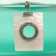 "1 1/2"" Rectangle  Mother of Pearl Shell Handmade Pendant 925 Sterling Silver"