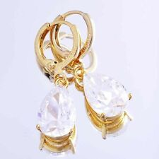 18k yellow gold filled swarovski hoop earrings womens huggie Crystal earrings