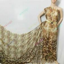 Leopard printed 100% pure silk chiffon fabric material by Yard #-50111