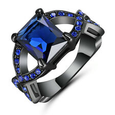 Blue Sapphire & CZ Criss Cross Ring Band 14k Black Gold Filled Jewelry Size 7