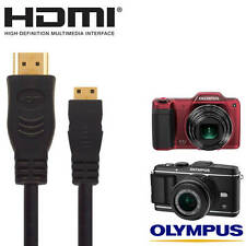 Olympus E-5, E-P3, SZ-15, VH-520 Camera HDMI Mini TV Monitor 5m Long Gold Cable