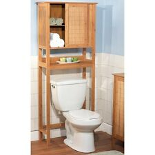 Over The Toilet Bamboo Bathroom Space Saver Storage Cabinet Light Wood Tone
