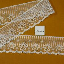Elegant White Lace Fabric Trim, 1 & 7/8 Inches Wide, Per 3 Yards