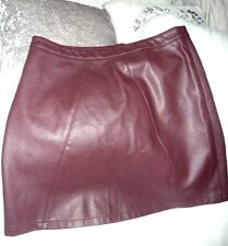 "Deep red ultra femme faux leather burgundy mini secretary skirt sz 14 waist 32"""
