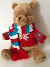 "2008 Disney Store 14"" Winnie the Pooh Plush in Winter Sweater & Scarf"