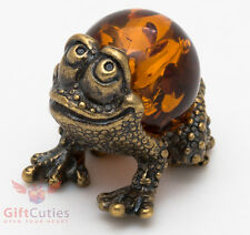Russian Solid Brass Amber Figurine Frog with amber body Totem talisman IronWork