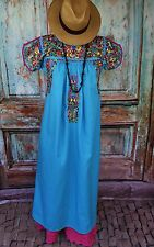 Blue & Multi Color Pansies Hand Embroidered Mexico San Antonio Wedding Dress