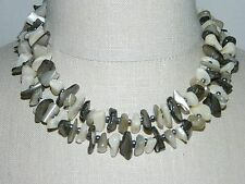 VTG JAPAN Signed Multi Strand Abalone Mother of Pearl Shell Bead Choker Necklace