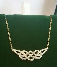 Vintage Designer 9CT Yellow Gold Diamond Celtic Tear-Drop Necklace 20 inch