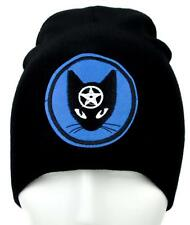 Wiccan Black Cat Pentagram Beanie Alternative Clothing Knit Cap Witchcraft Goth