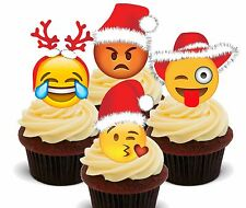 Emoji Christmas - Edible Cupcake Toppers, Fairy Cake Bun Decorations Smiley Face