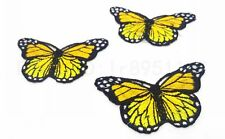 3pcs Iron On Patch Sew Embroidered Trim 8CM butterfly fabric stickers yellow Z15