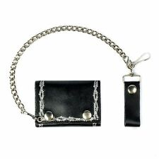 Black Leather Chain Wallet Tri-Fold - Barbed Wire USA Made - Trucker - Biker
