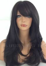 FULL LONG WOMENS LADIES FASHION HAIR WIG  BLACK/DARK BROWN HEAT RESISTANT UK