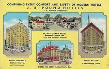 J.B. Pound Hotels in Savannah GA TN and FL Multiview Postcard