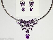 2 In 1 Silver Amethyst Rhinestone Choker Necklace/Pendant & Earrings Set /15435