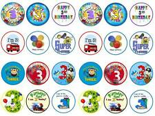 24 cake toppers 3rd third happy birthday boy son bun fairy cupcake toppers party