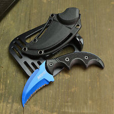 """5"""" Tactical Claw Karambit Blue Fixed Blade Survival Combat Hunting Knife New!"""