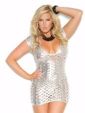 Silver Dress 3X Women Plus Bling Lame Cut Out Short Sleeve Sexy Deep V Cleavage