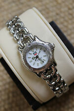Tag Heuer Watch Mini Womens White SEL S90.808 S/EL Link SS MINT CRYSTAL Silver