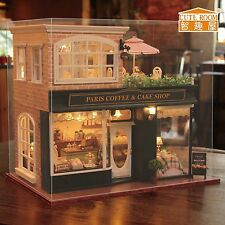 New Kits DIY Wooden Dollhouse miniature Doll House+Cover+Music Paris Coffee shop