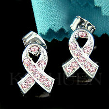 w Swarovski Crystal Support ~Breast Cancer~~ Awareness Pink Ribbon Post Earrings