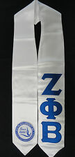 Zeta Phi Beta White Graduation Stole Stoll Sash Sewn Letters With New Seal/Crest