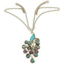 Fashion Vintage Green Peacock Rhinestone Gem Bronze Pendant Long Chain Necklace
