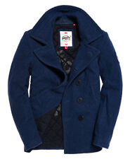 SUPERDRY Men's Rookie Double Breasted Wool Peacoat Trench Coat Slim Fit Navy M