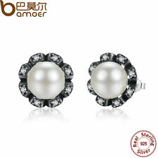Bamoer Authentic S925 Sterling Silver Earrings, White Pearl & Clear CZ For Women