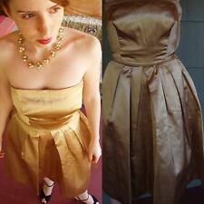 VTG 50s Strapless Dress GOLD Satin BOMBSHELL Starlet BULLET BRA Bodice PIN UP S