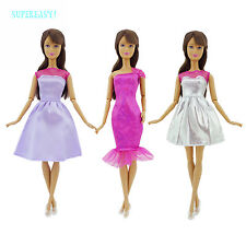 Lot 6 = 3 Dress Dinner Party Gown + 3 Copy Crystal Shoes Clothes For Barbie Doll